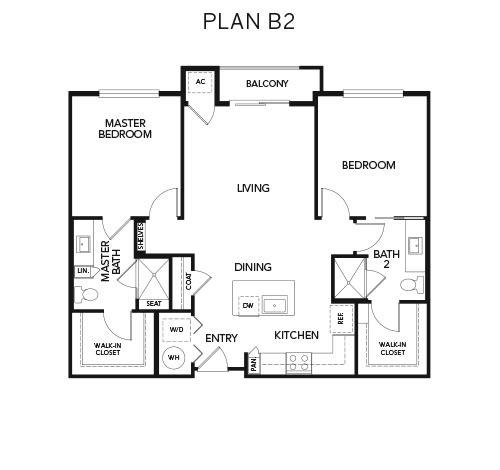 B2 floor plan at Avenida Naperville in Naperville, Illinois