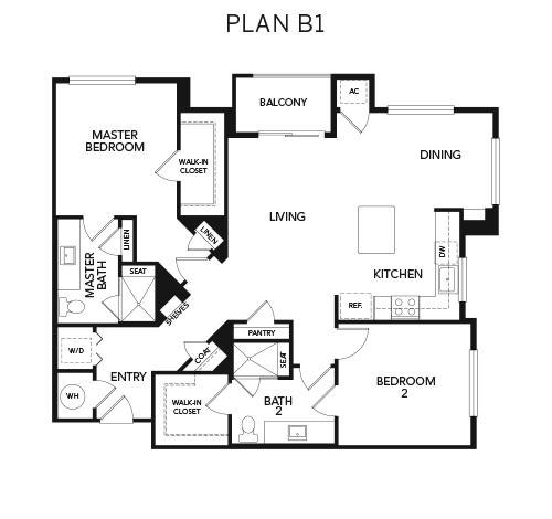 B1 floor plan at Avenida Naperville in Naperville, Illinois