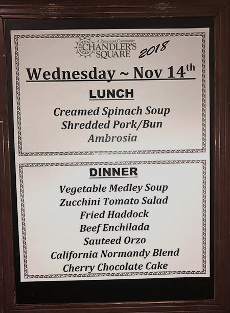 Delicious food at Chandler's Square Retirement Community