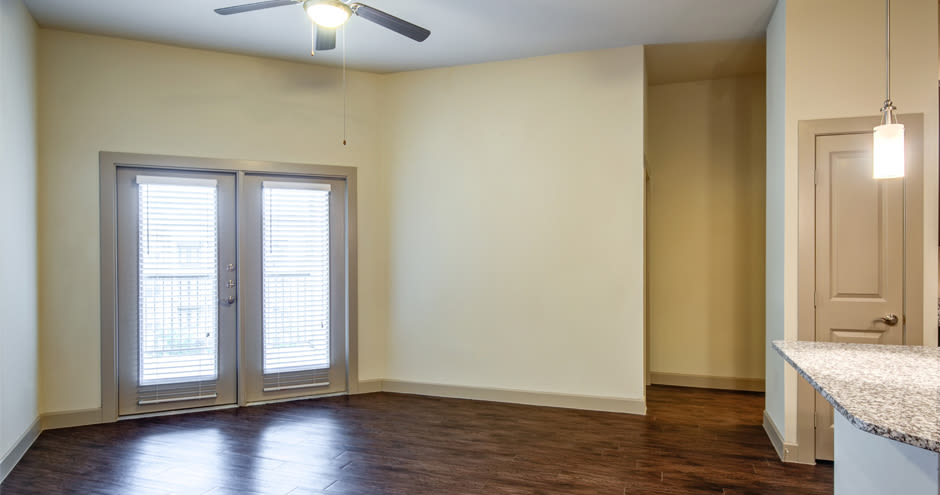 Spacious living room at apartments in Richardson, Texas