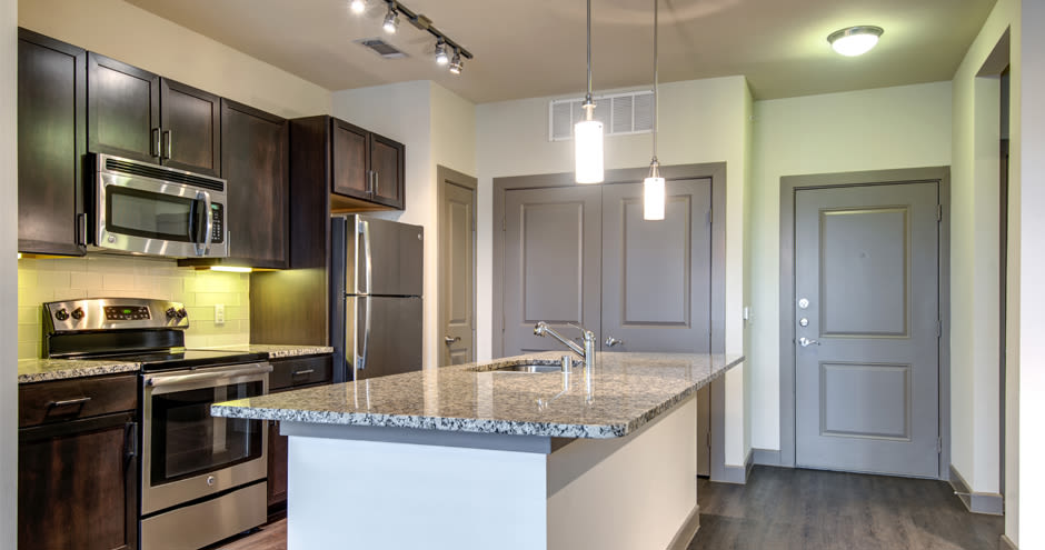 Beautiful kitchen at GreenVue Apartments in Richardson, Texas