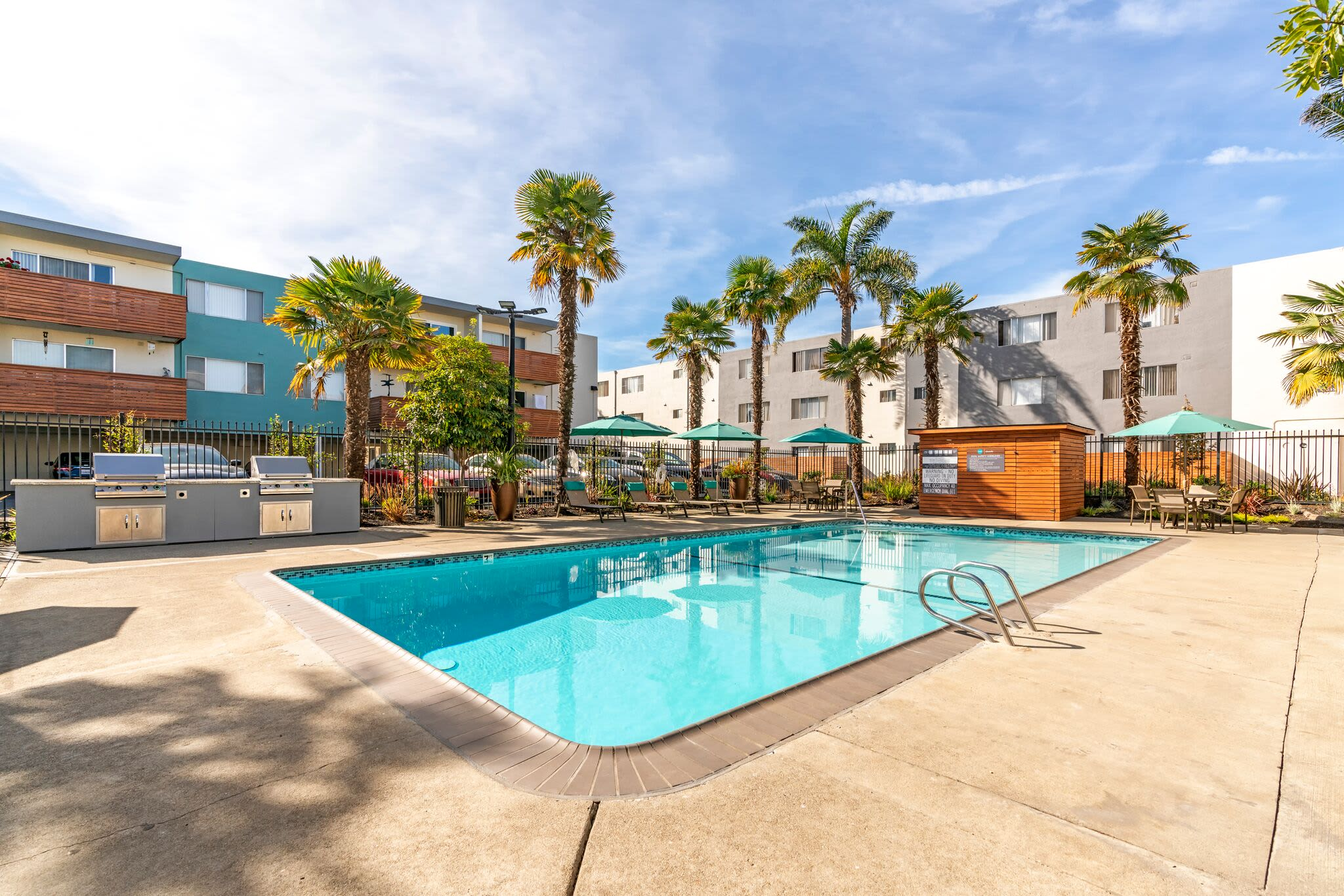 Luxury swimming pool at Vue Alameda in Alameda, California