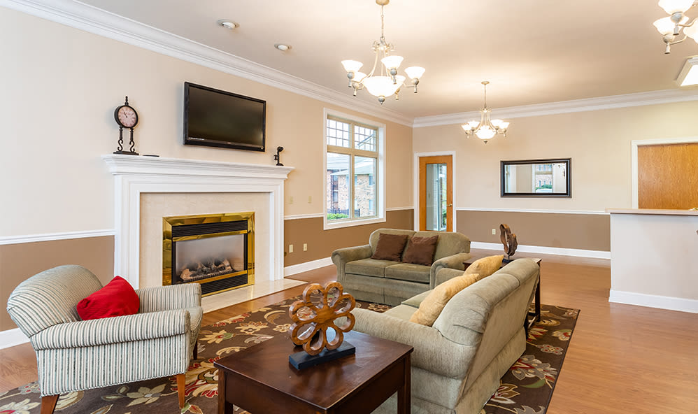Clubhouse fireplace at Knollwood Manor Apartments in Fairport, NY