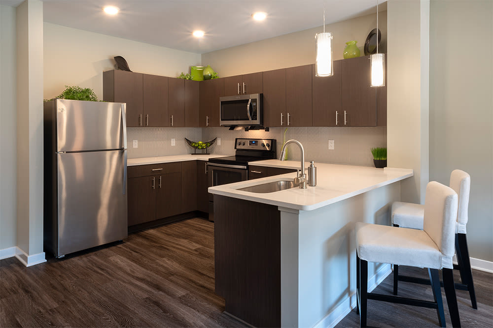 Modern kitchen at apartments in Pittsburgh, Pennsylvania