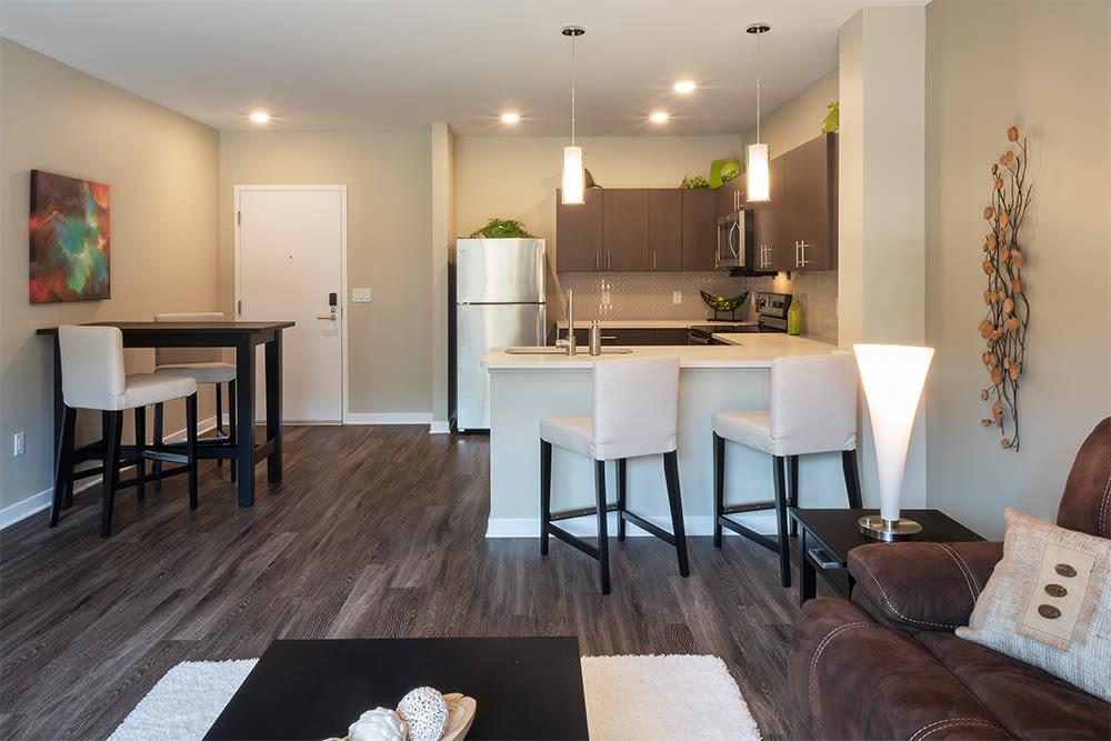 Open floor plan at apartments in Pittsburgh, Pennsylvania