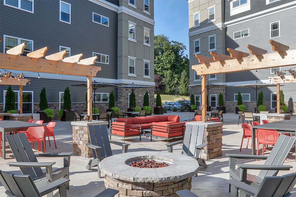 Outdoor lounge at Ellison Heights Apartments in Rochester, New York