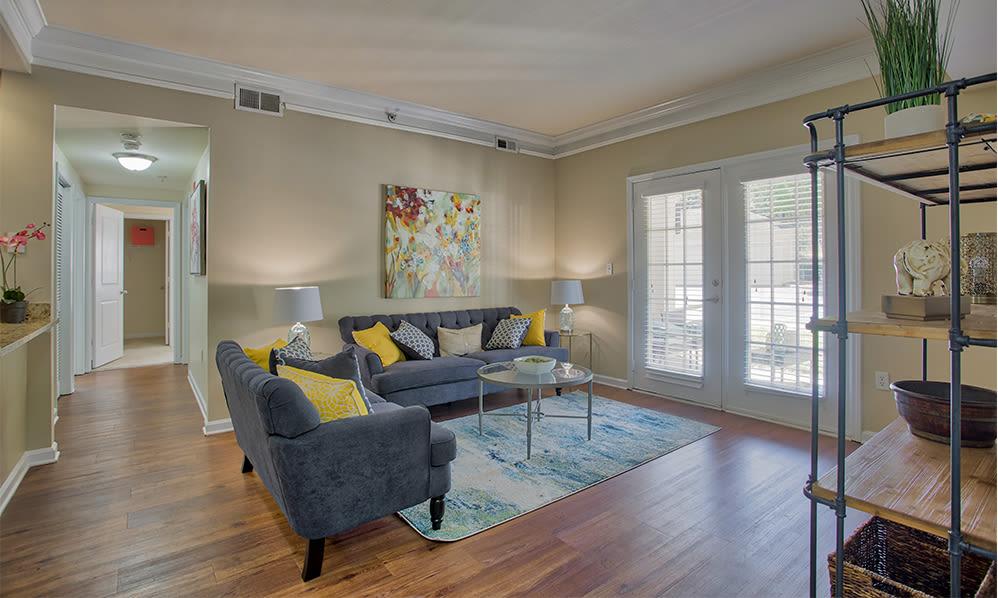 Beautiful living room at Atkins Circle Apartments in Charlotte, North Carolina