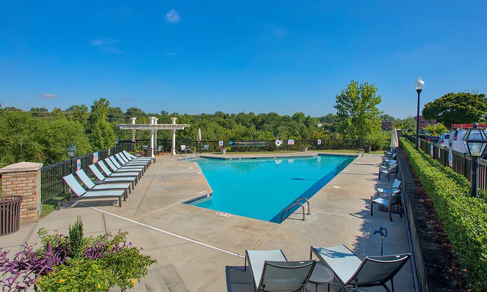 Swimming pool at apartments in Charlotte, North Carolina