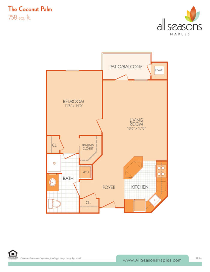 The Coconut Palm floor plan at All Seasons Naples in Naples, Florida