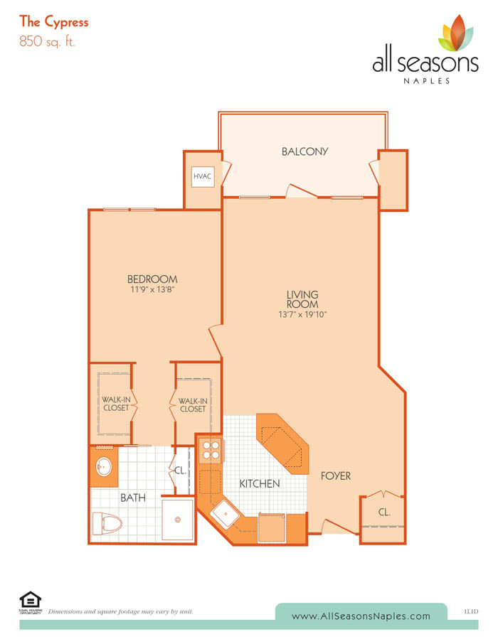 The Cypress floor plan at All Seasons Naples in Naples, Florida