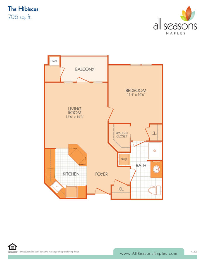 The Hibiscus floor plan at All Seasons Naples in Naples, Florida