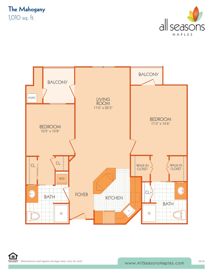 The Mahogany floor plan at All Seasons Naples in Naples, Florida