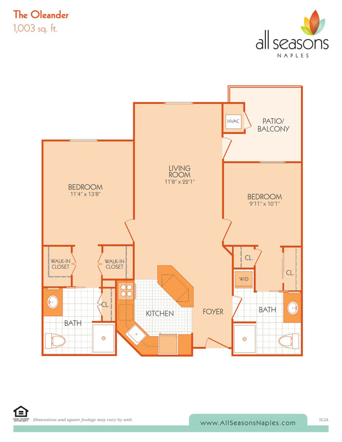 The Oleander floor plan at All Seasons Naples in Naples, Florida