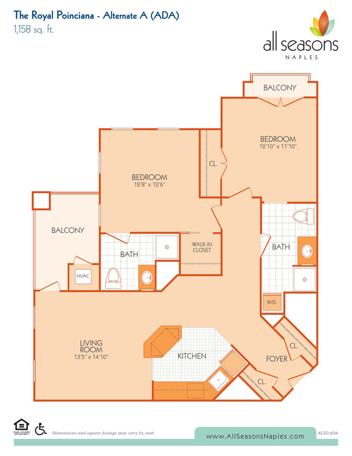 The Royal Poinciana Alternate A floor plan at All Seasons Naples in Naples, Florida