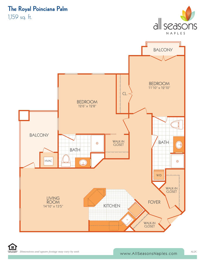 The Royal Poinciana Palm floor plan at All Seasons Naples in Naples, Florida