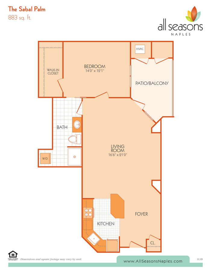 The Sabal Palm floor plan at All Seasons Naples in Naples, Florida