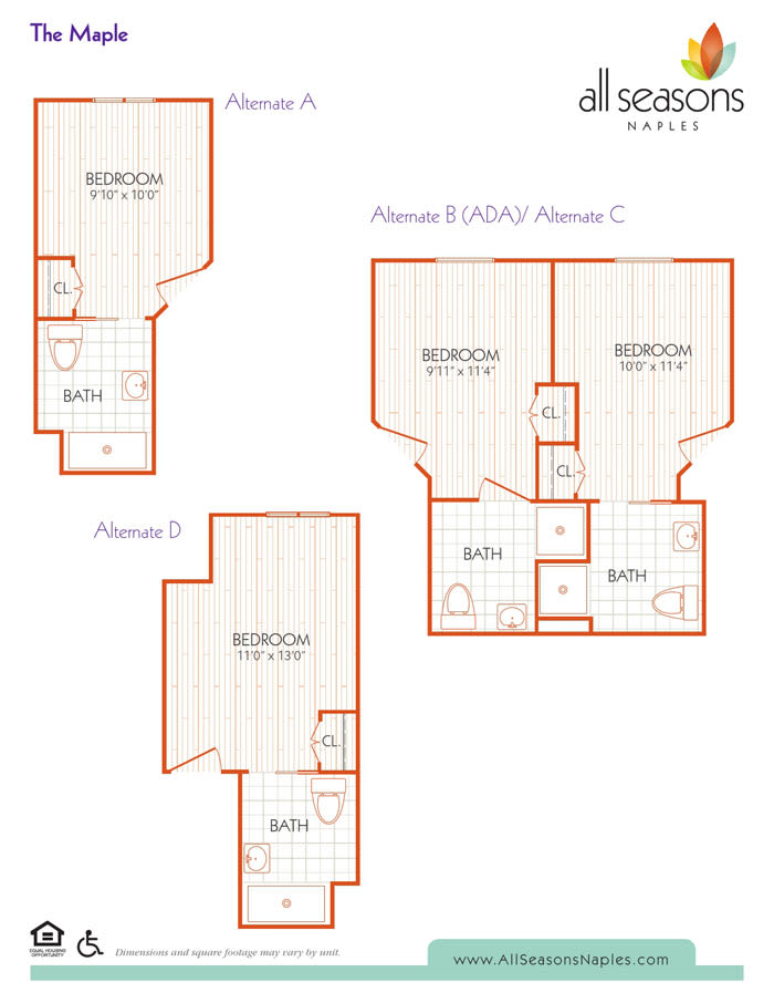 The Maple floor plan at All Seasons Naples in Naples, Florida