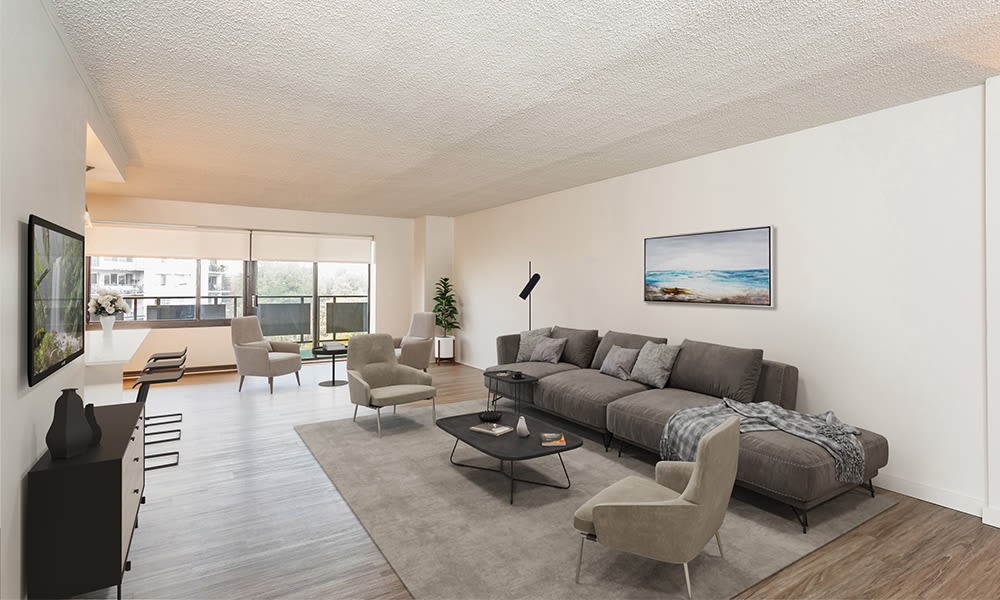A living room that is great for entertaining at apartments in Rochester, New York