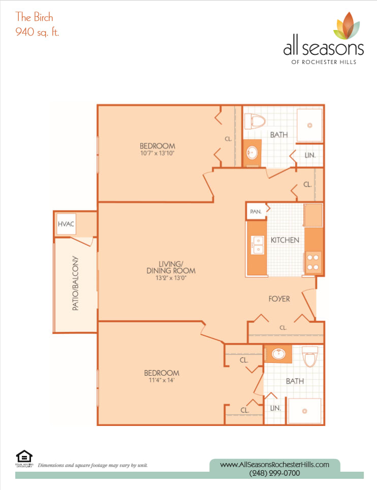 The Birch floor plan at All Seasons of Rochester Hills in Rochester Hills, Michigan