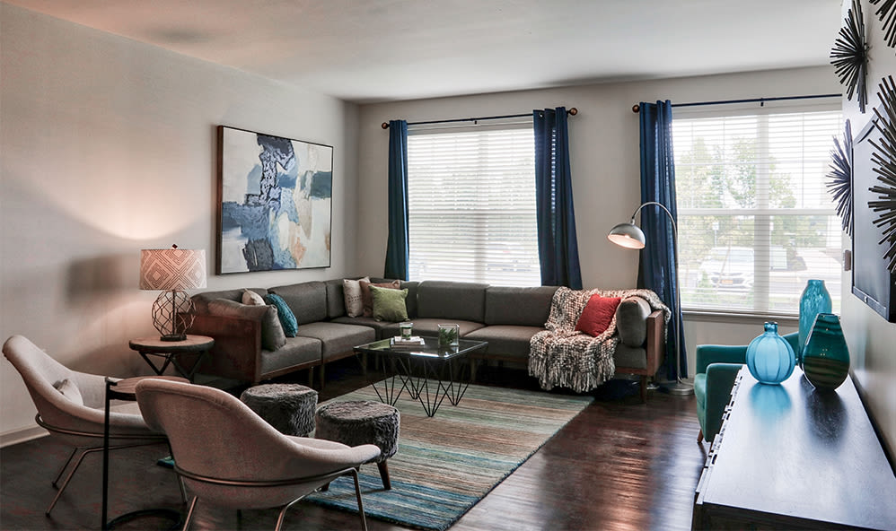 Living room view at Fairview at Town Center Apartment Homes home in Rochester