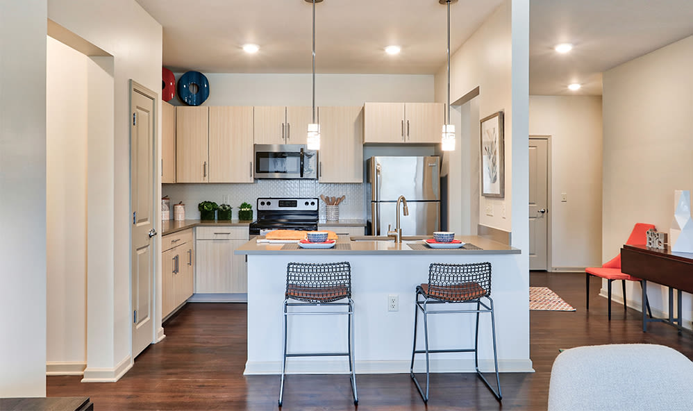 Modern kitchen at Fairview at Town Center Apartment Homes in Rochester, New York