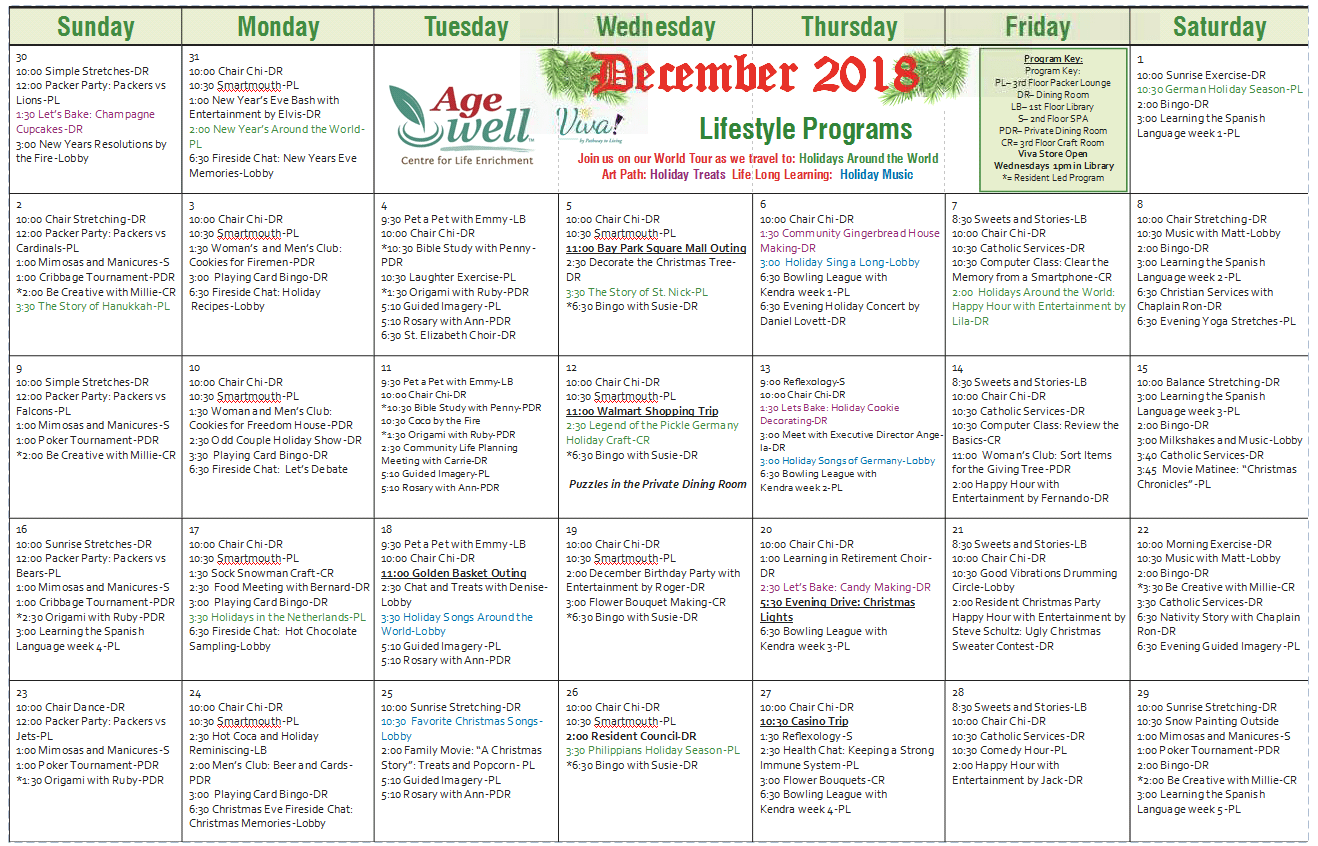 Activities & Events at Age Well Centre for Life Enrichment
