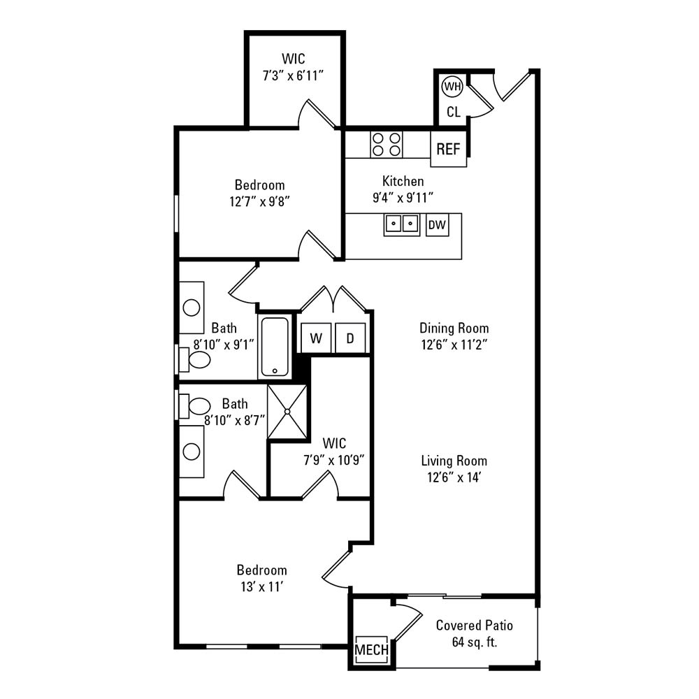 2 Bedroom, 2 Bath 1,184 sq. ft. apartments for rent at Winding Creek Apartments in Webster, NY