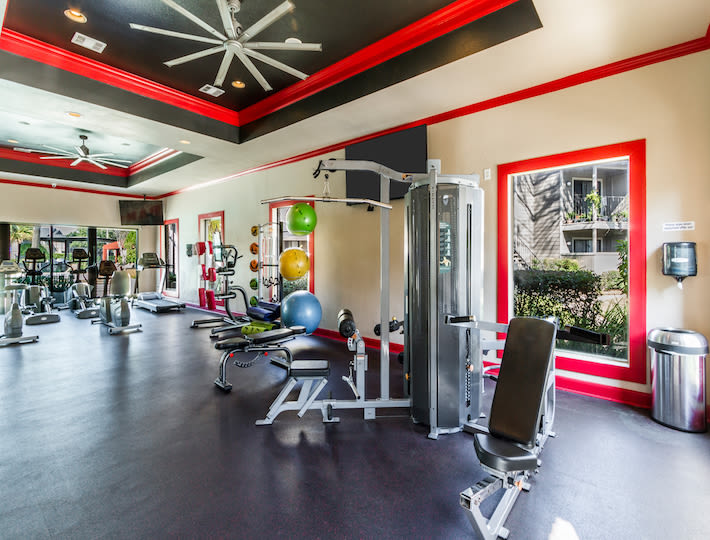 Fitness center available at 2400 Briarwest in Houston, Texas