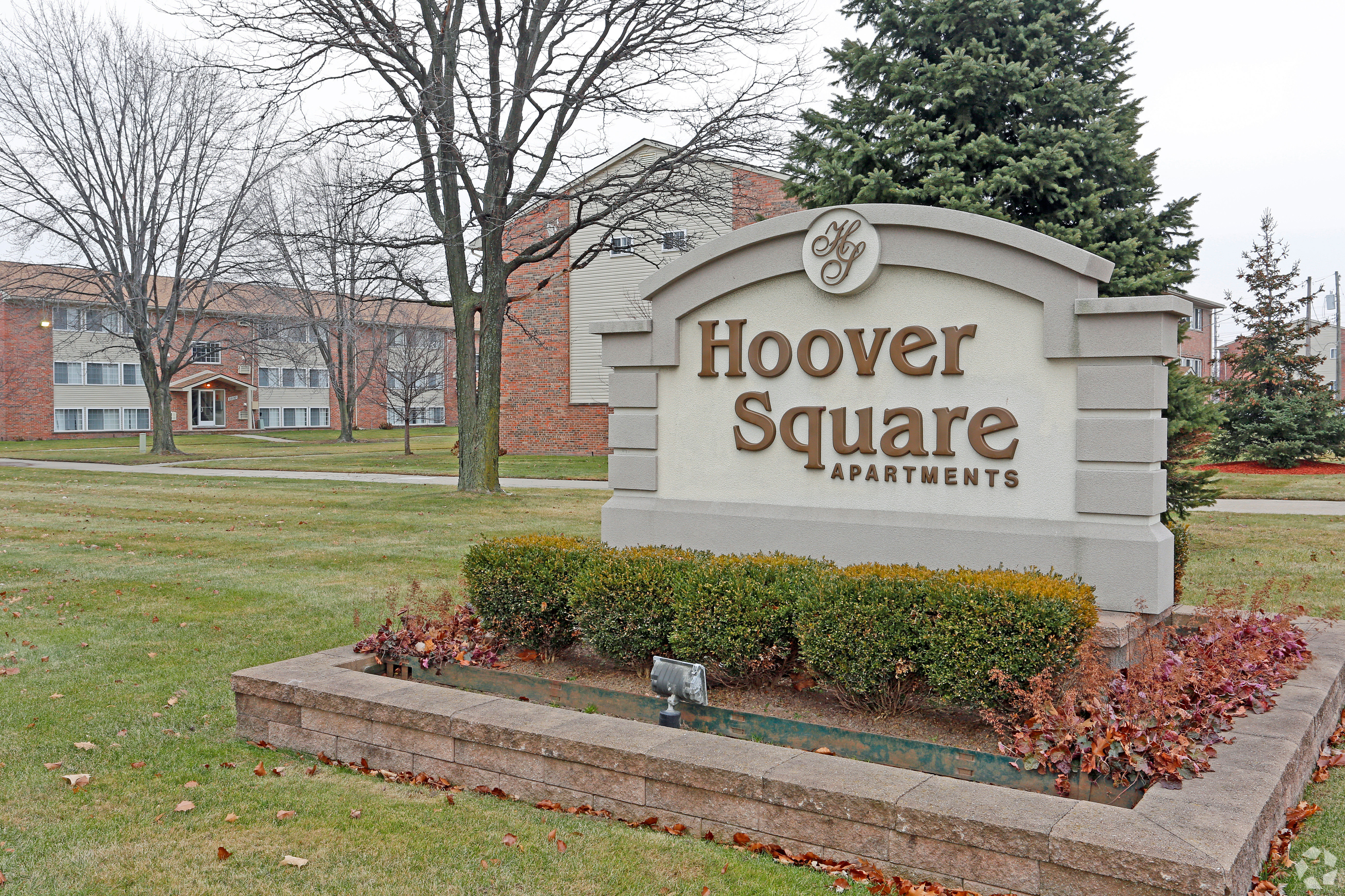 Entry sign at Hoover Square Apartments in Warren, Michigan