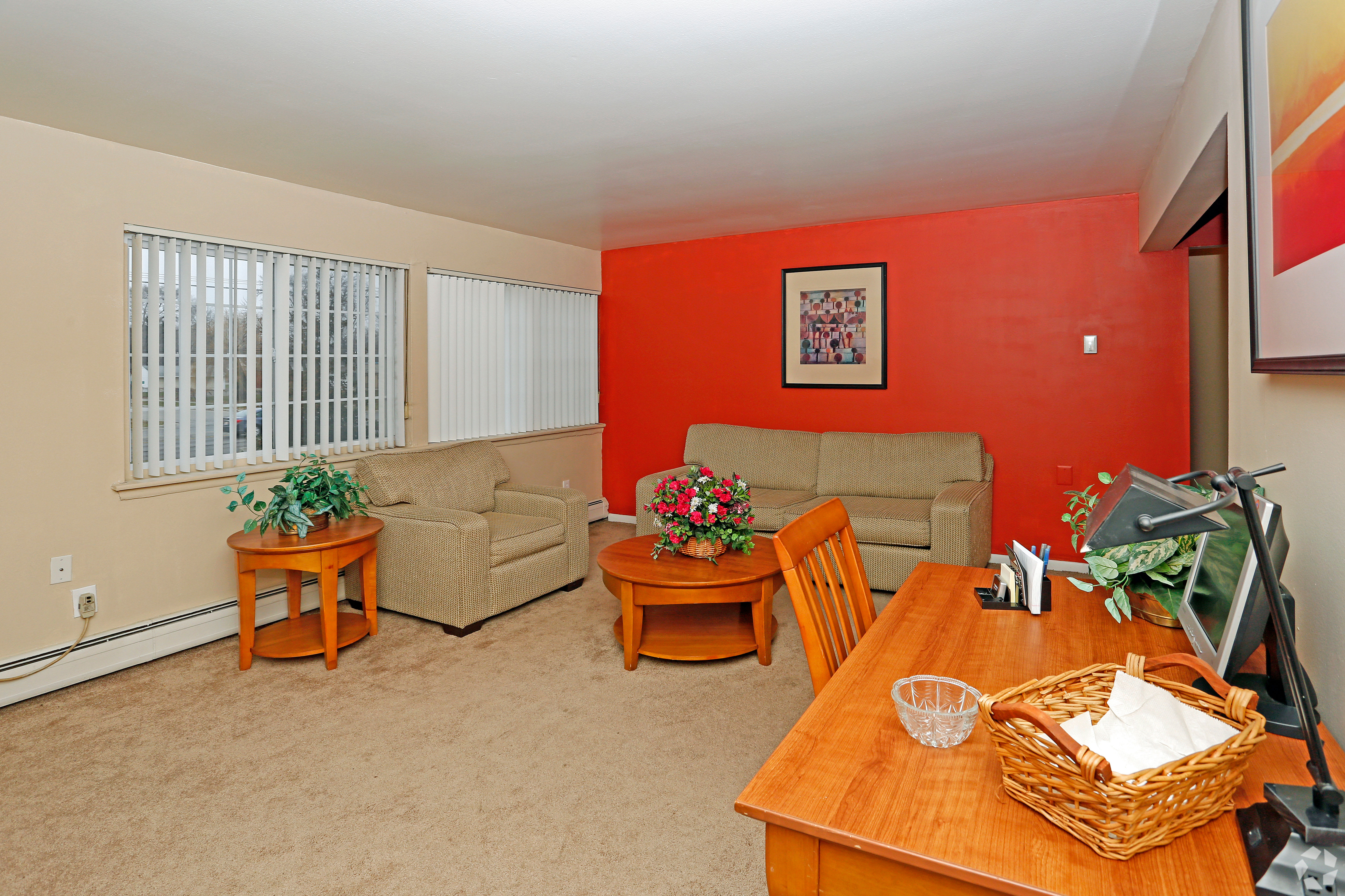 Enjoy a beautiful living room at Hoover Square Apartments in Warren, Michigan