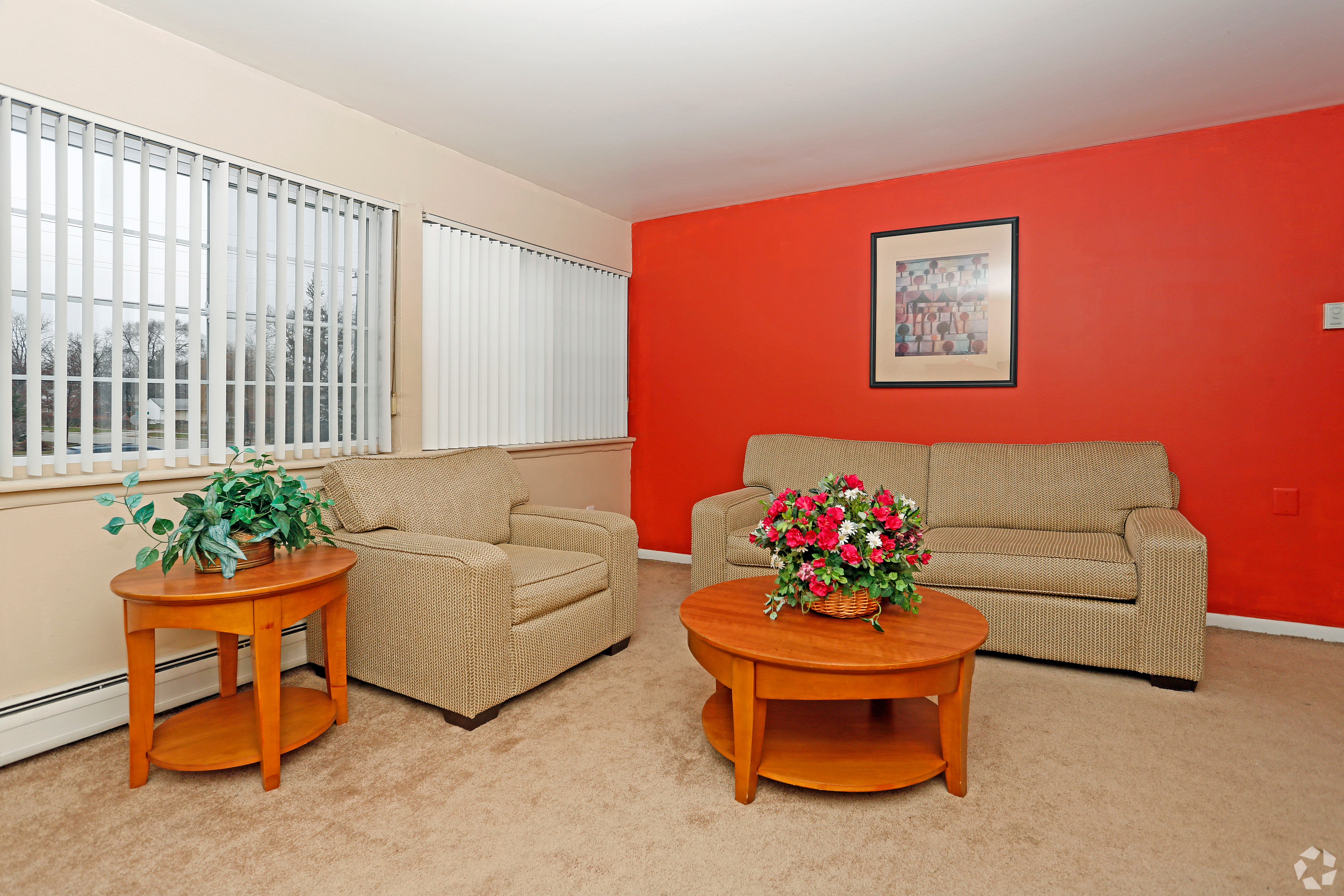Modern living room at Hoover Square Apartments in Warren, Michigan