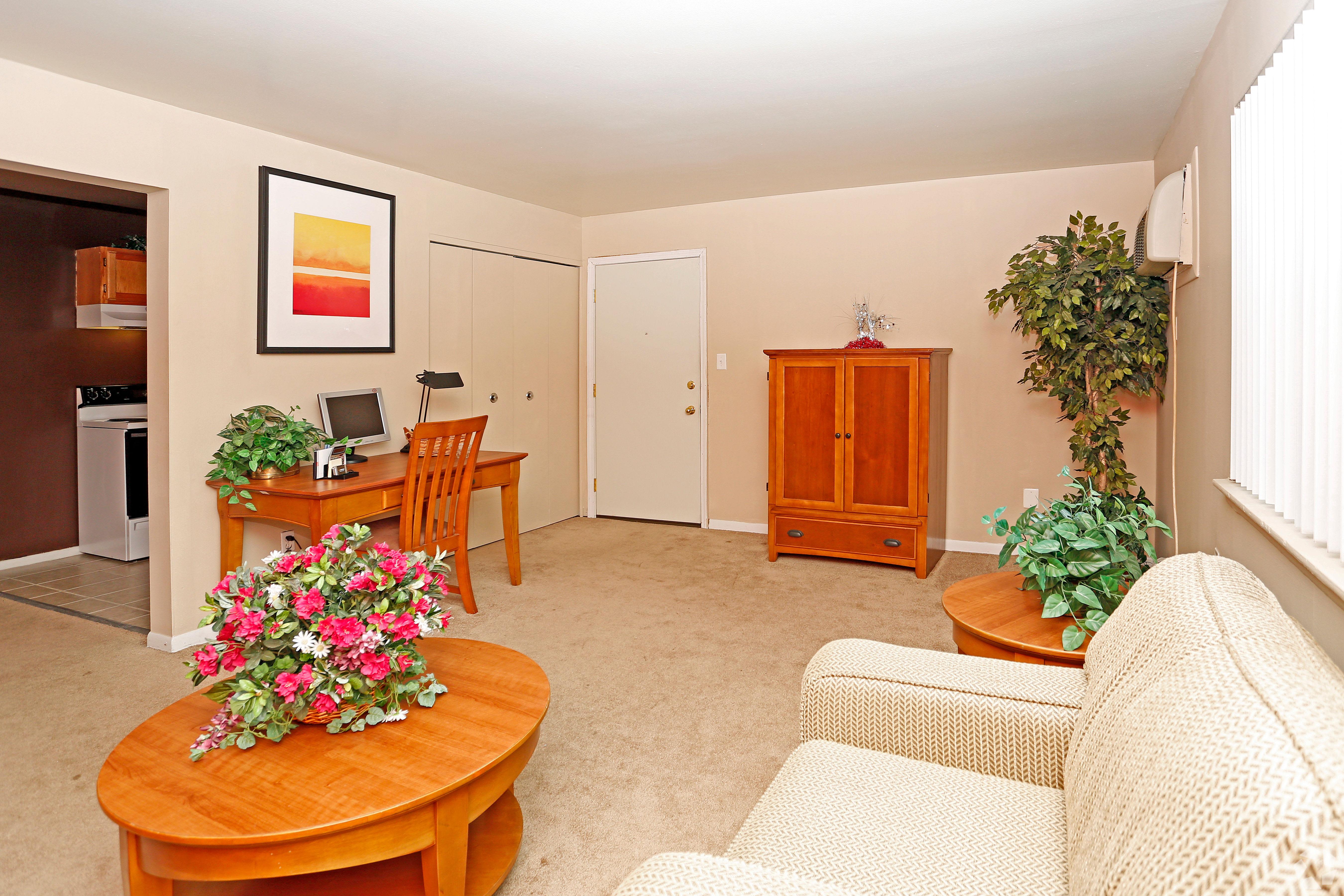 Unique living room at Hoover Square Apartments in Warren, Michigan