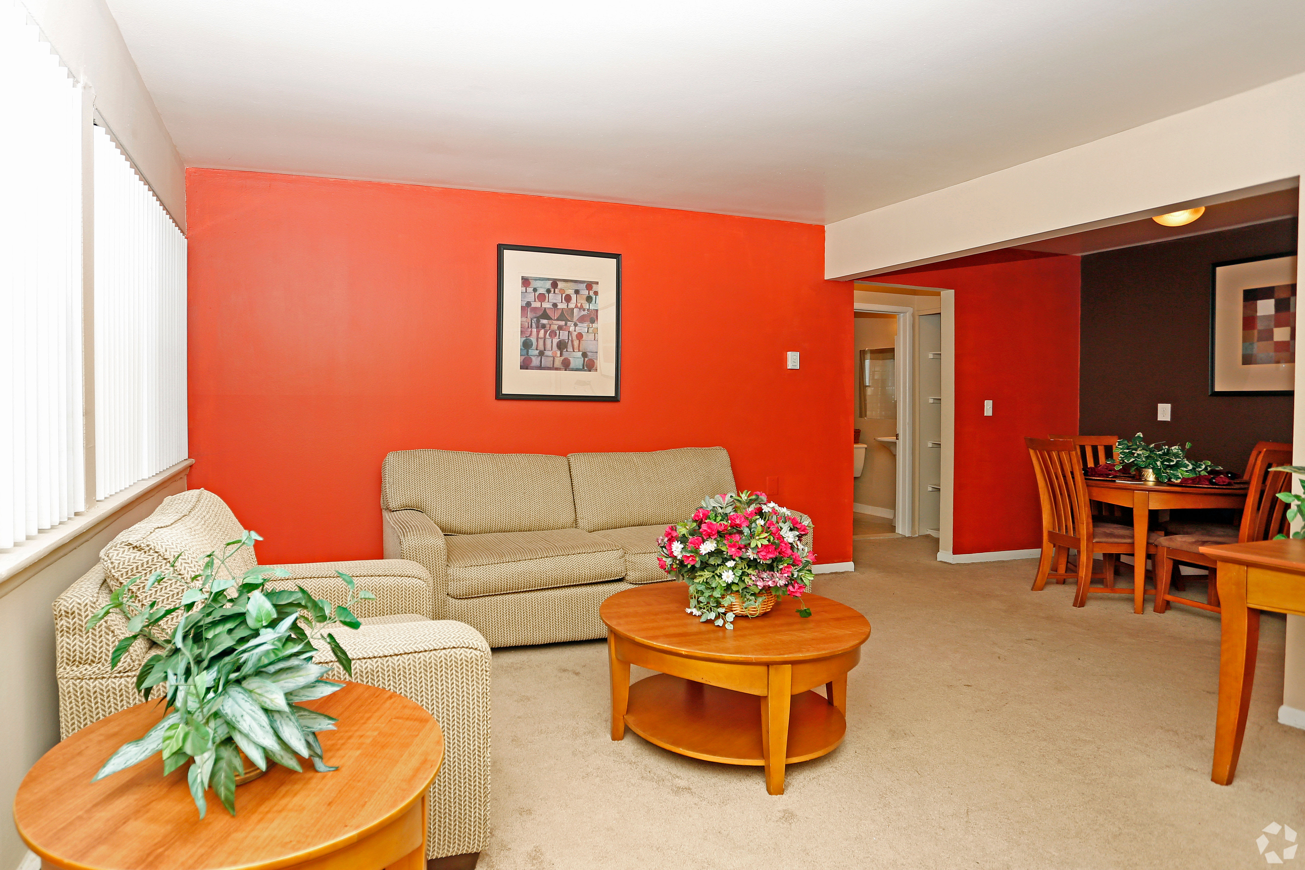 Spacious apartment with an open living room at Hoover Square Apartments in Warren, Michigan
