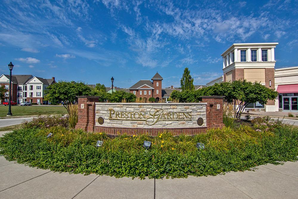 Preston Gardens monument sign in Perrysburg, Ohio