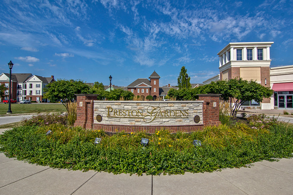 Preston Gardens monument sign in Perrysburg, OH