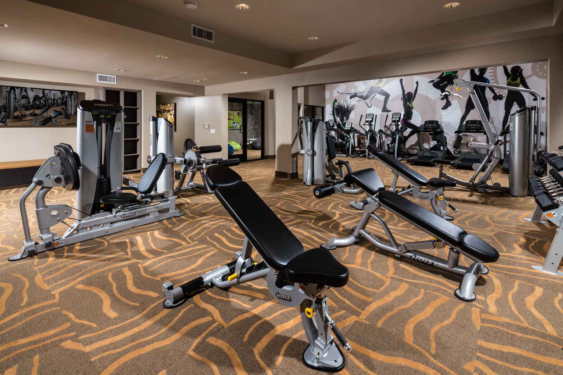 Fitness center at Sierra Heights Apartments in Rancho Cucamonga, California