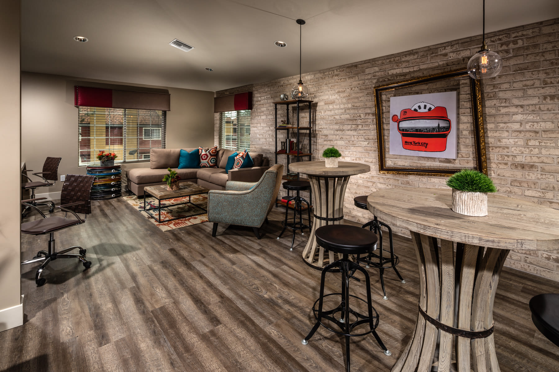 Community business center and media room at Sierra Heights Apartments in Rancho Cucamonga, California