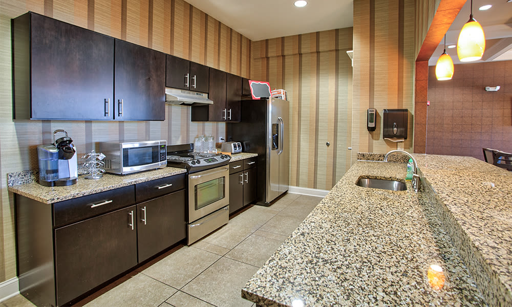 Beautiful clubhouse kitchen at apartments in Canonsburg, Pennsylvania