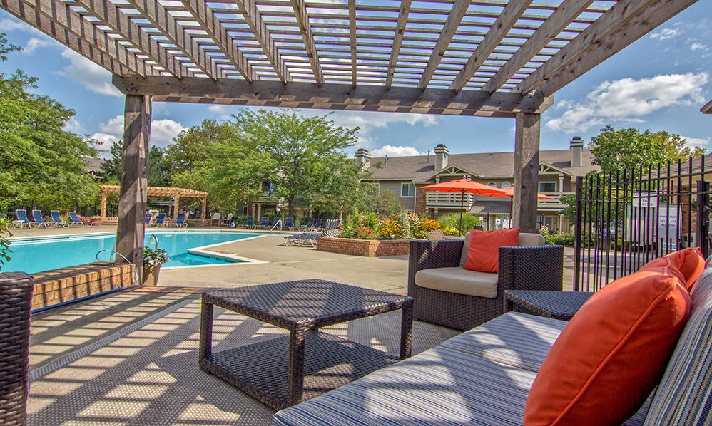 Cabana seating at Perry's Crossing Apartments in Perrysburg, Ohio
