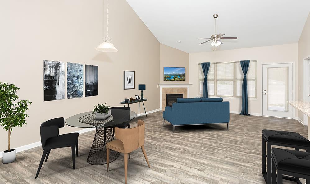 Beautiful living room at apartments in Farmington, New York