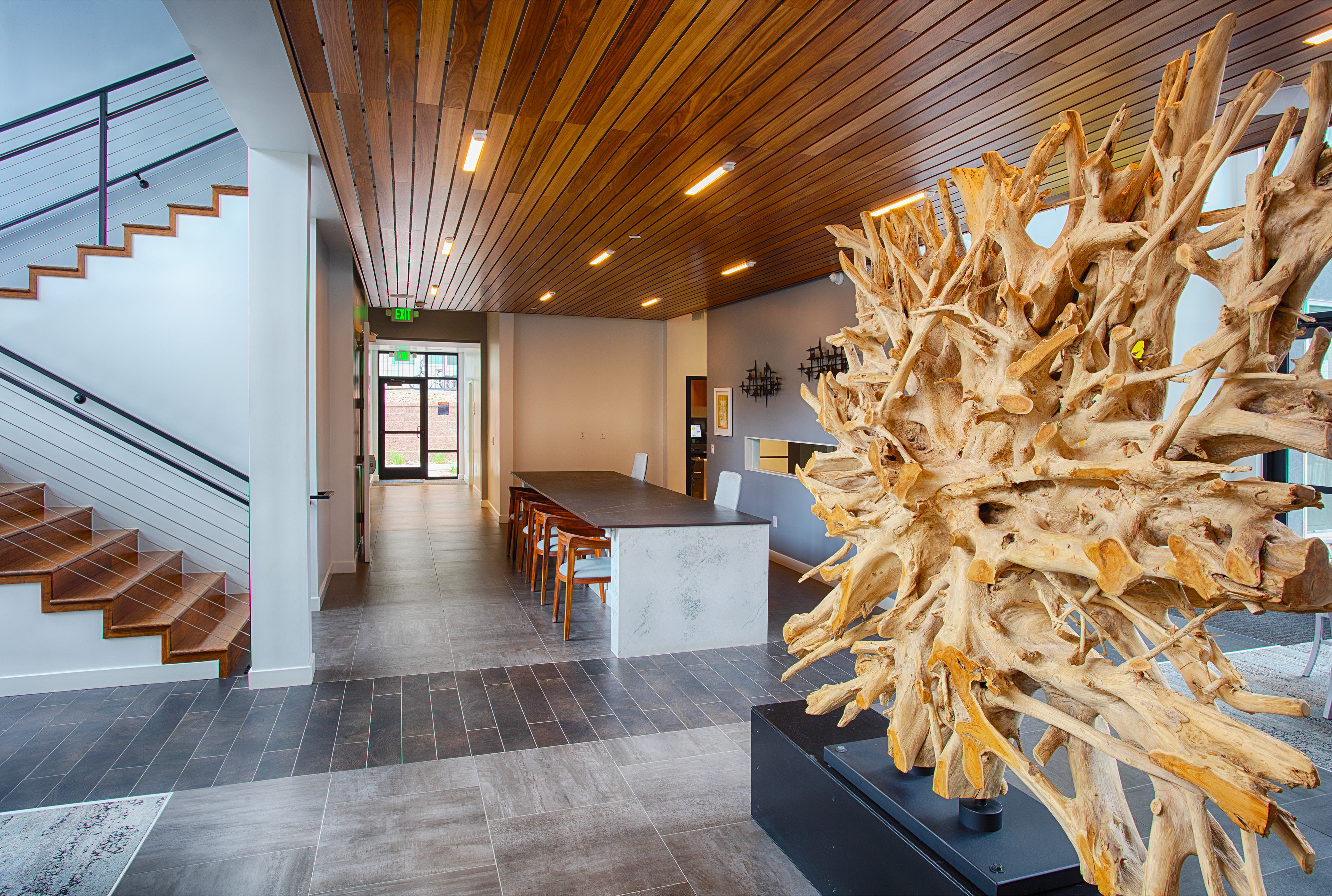 Sleek modern décor in the lobby at Elevate in Englewood, Colorado