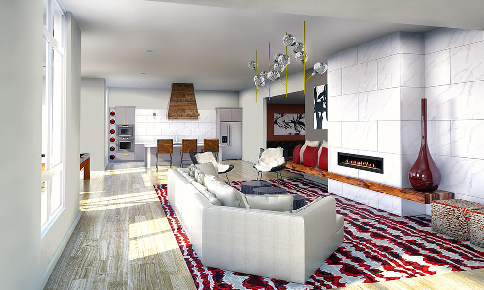 Modern decor in resident clubhouse at 50 Front Luxury Apartments in Binghamton, NY