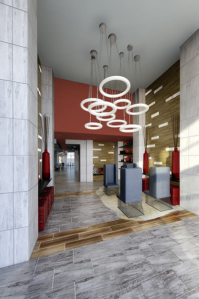 Modern lobby at 50 Front Luxury Apartments in Binghamton, NY