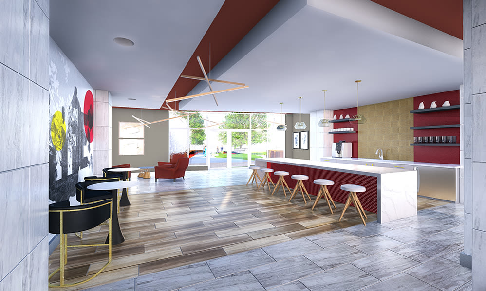 Resident lounge at 50 Front Luxury Apartments in Binghamton, New York