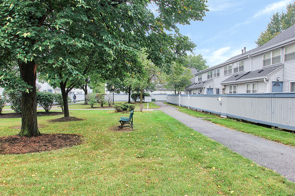 Brighton Colony Townhomes offers beautiful walking paths in Rochester, New York