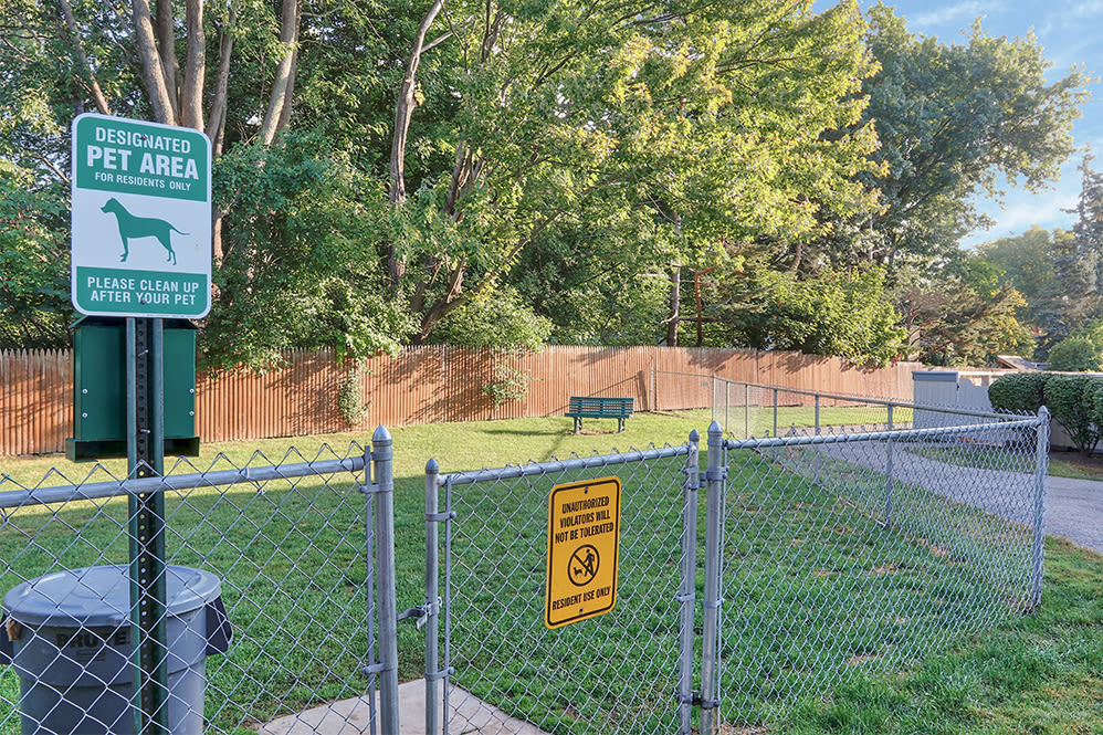 Spacious dog park at Brighton Colony Townhomes in Rochester, New York