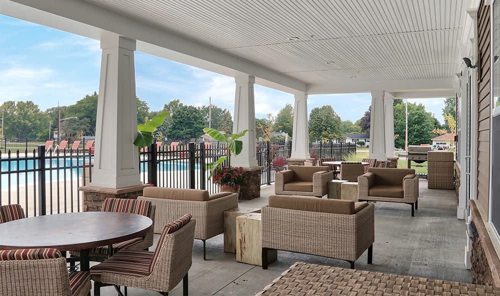Outdoor patio at Orchard View Senior Apartments in Rochester