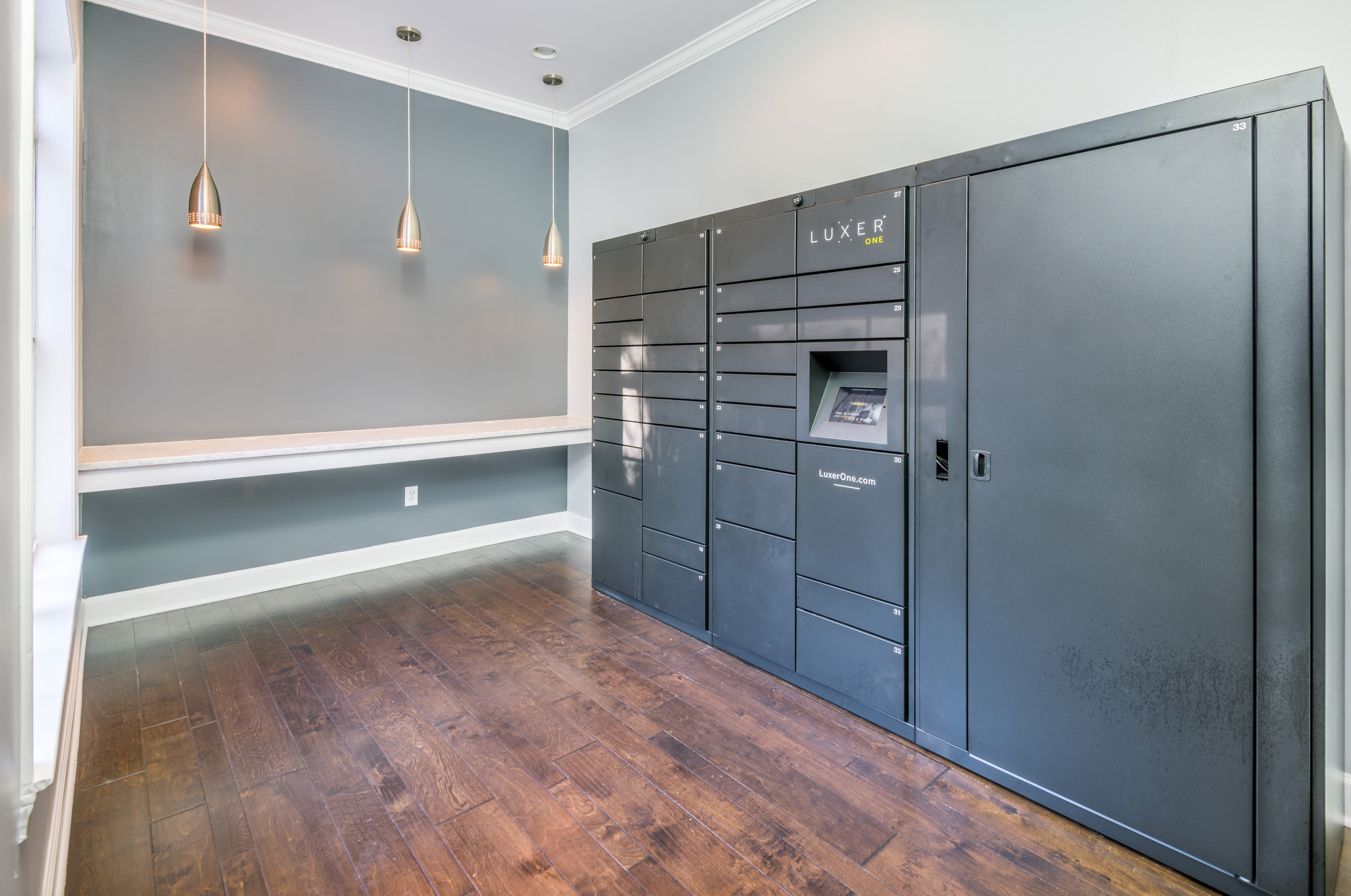Storage lockers for residents at The Oxford in Conyers, Georgia