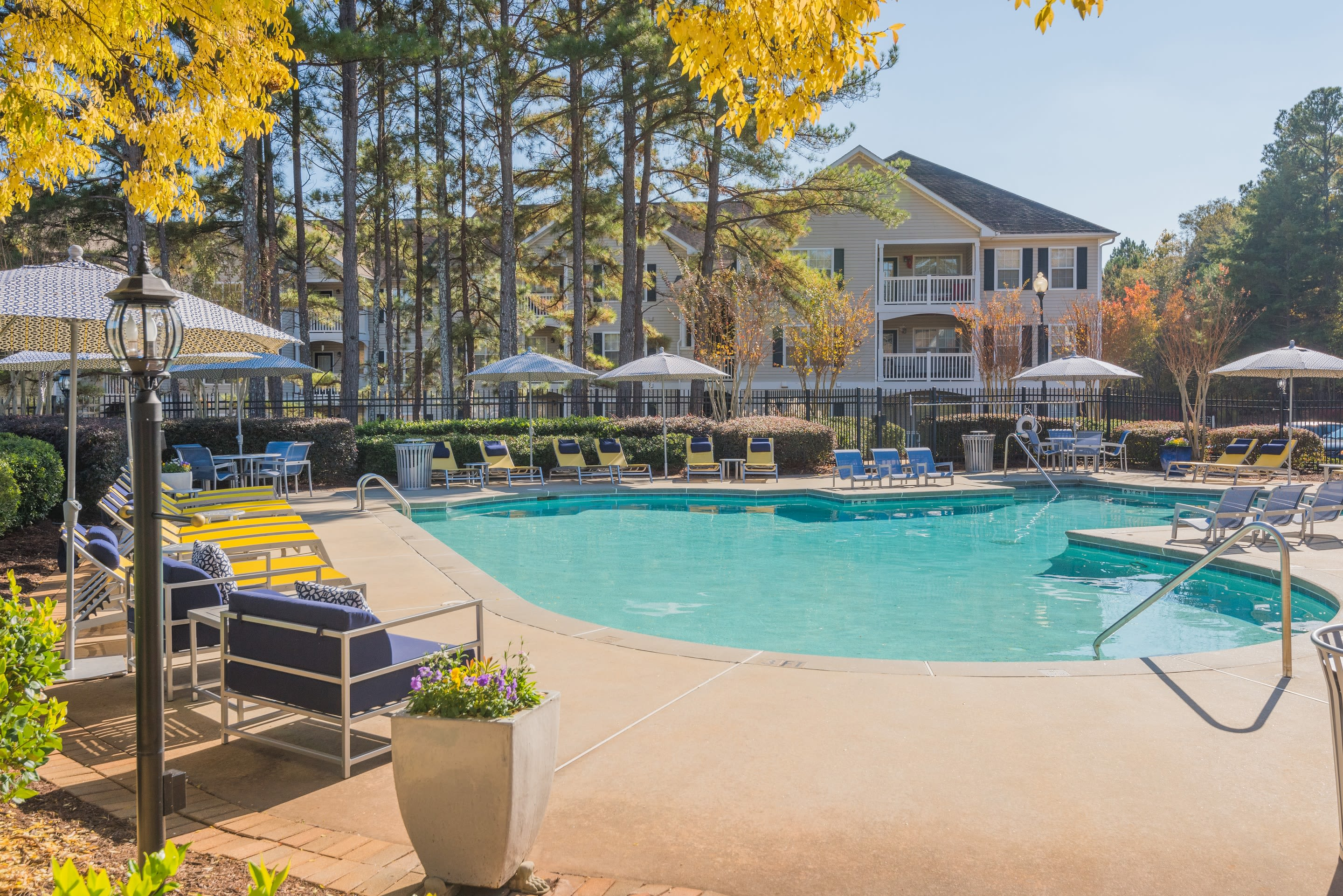 Resort style pool with lounge chairs at The Oxford in Conyers, Georgia