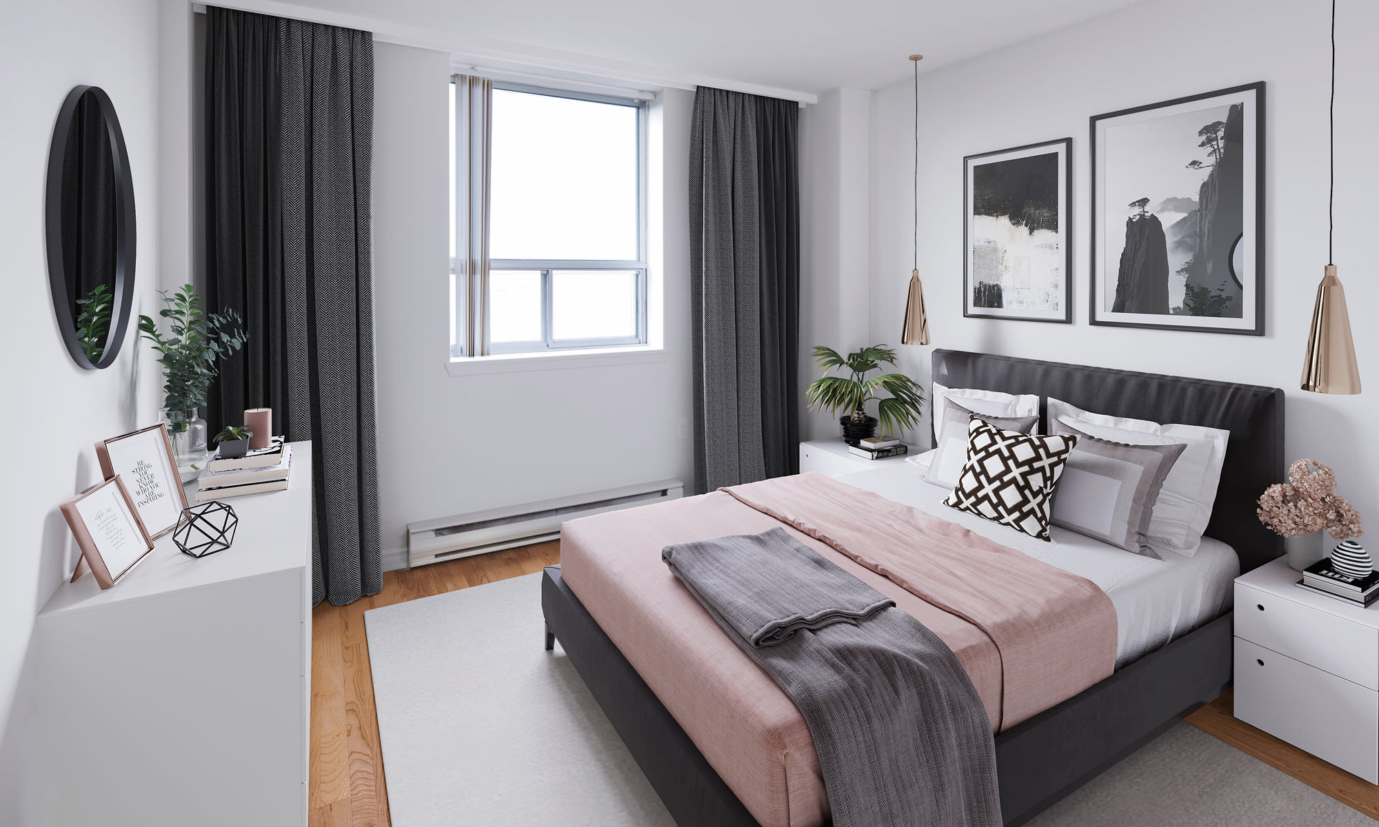 Newly updated bedroom at Cunard Apartments in Halifax, Nova Scotia